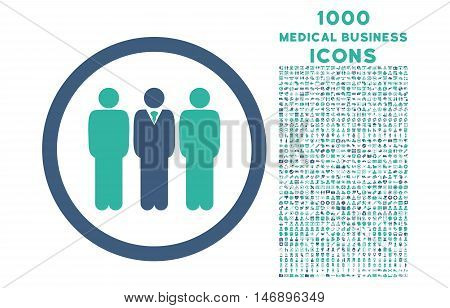 Clerk Staff rounded glyph bicolor icon with 1000 medical business icons. Set style is flat pictograms, cobalt and cyan colors, white background.