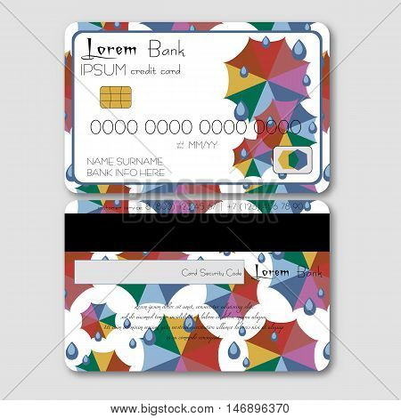 Template for credit or debit card with colorful umbrellas and rain drops in flat style. Trendy autumn 2016 colors. Vector illustration