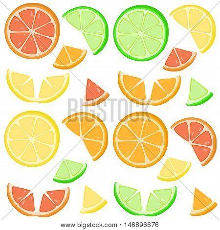 Orange, Lime, Lemon And Grapefruit Slices.