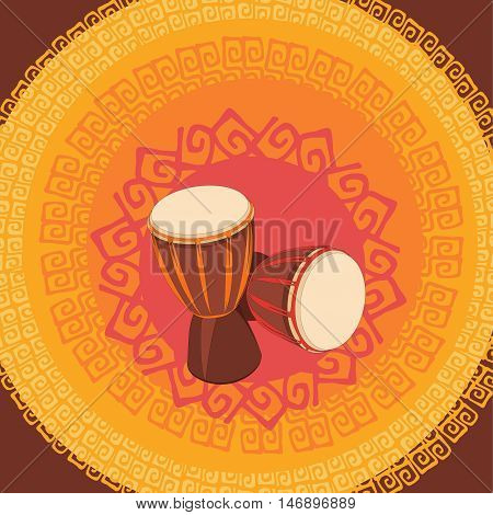 Two african Djembe Drum on the ornamental background. Vector illustration.
