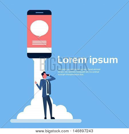 Business Man Chat Speak Mobile Cell Smart Phone Flat Vector Illustration