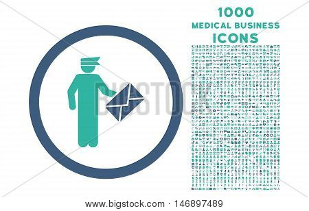 Postman rounded glyph bicolor icon with 1000 medical business icons. Set style is flat pictograms, cobalt and cyan colors, white background.