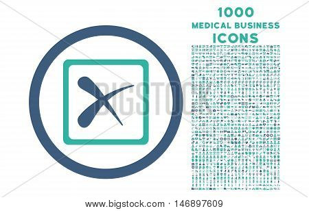 Reject rounded glyph bicolor icon with 1000 medical business icons. Set style is flat pictograms, cobalt and cyan colors, white background.