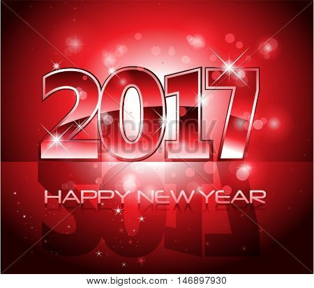 Vector 2017 Happy New Year glossy red letters