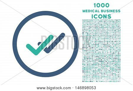 Validation rounded glyph bicolor icon with 1000 medical business icons. Set style is flat pictograms, cobalt and cyan colors, white background.