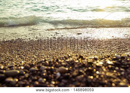 sea at sunset, as a background of Golden sunlight