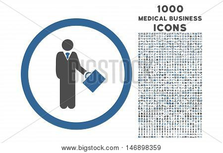 Businessman rounded glyph bicolor icon with 1000 medical business icons. Set style is flat pictograms, cobalt and gray colors, white background.