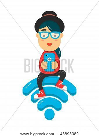 Teenage girl sitting on the wi-fi blue sign and using smartphone for internet. Flat illustration isolated on white background