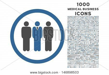 Clerk Staff rounded glyph bicolor icon with 1000 medical business icons. Set style is flat pictograms, cobalt and gray colors, white background.