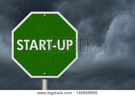 Green Start-up highway road sign Green stop highway sign with words Start-up with stormy sky background, 3D Illustration