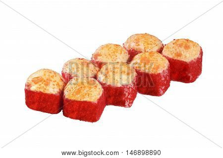hot baked cap red caviar Masago Sushi roll isolated on white background for the menu