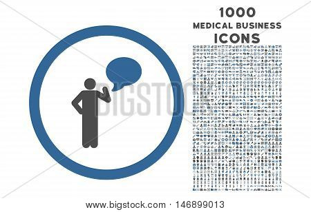 Person Idea rounded glyph bicolor icon with 1000 medical business icons. Set style is flat pictograms, cobalt and gray colors, white background.