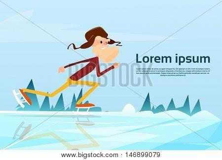 Senior Man Skiing On Lake Winter Countryside Background Flat Vector Illustration