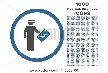 Postman rounded glyph bicolor icon with 1000 medical business icons. Set style is flat pictograms, cobalt and gray colors, white background.