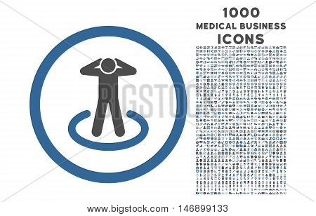 Prisoner rounded glyph bicolor icon with 1000 medical business icons. Set style is flat pictograms, cobalt and gray colors, white background.