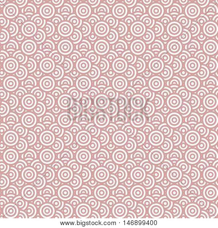 Geometry seamless pattern with concentric circles. Red and white target seamless pattern. Vector illustration. Abstract background.