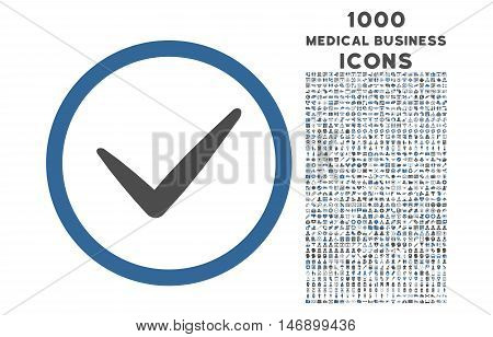 Valid rounded glyph bicolor icon with 1000 medical business icons. Set style is flat pictograms, cobalt and gray colors, white background.