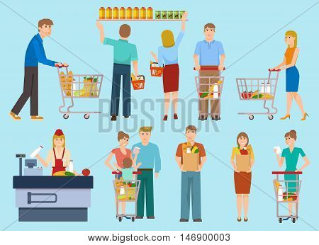 People in supermarket collection with cashier men women family with child on blue background isolated vector illustration
