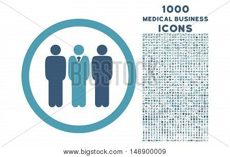 Clerk Staff rounded glyph bicolor icon with 1000 medical business icons. Set style is flat pictograms, cyan and blue colors, white background.