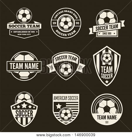 Collection of vector logotypes elements, icons, symbols, labels, badges and silhouettes for soccer and football