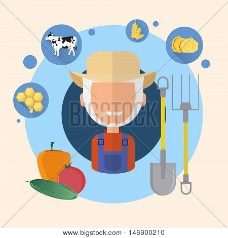Farmer Senior Man Agriculture Icon Flat Vector Illustration