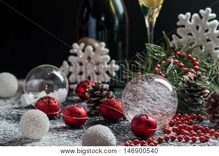 Christmas background with festive decoration, snowflakes, balls and champagne. Christmas background with copyspace