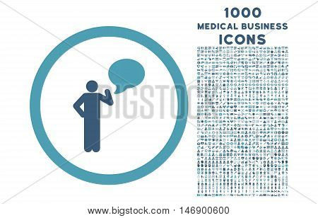 Person Idea rounded glyph bicolor icon with 1000 medical business icons. Set style is flat pictograms, cyan and blue colors, white background.