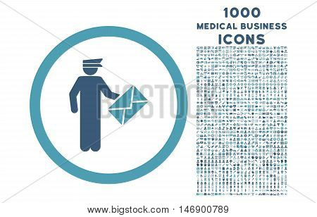 Postman rounded glyph bicolor icon with 1000 medical business icons. Set style is flat pictograms, cyan and blue colors, white background.
