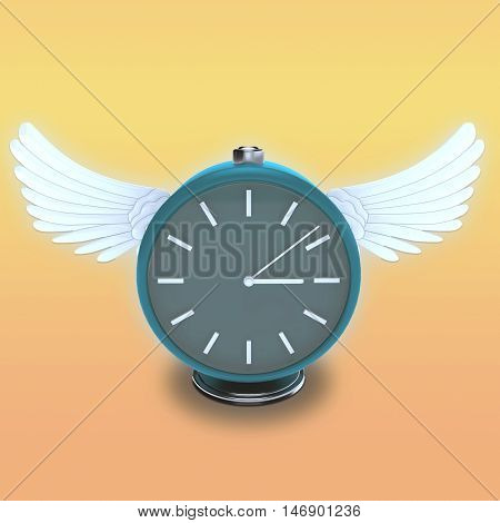 Color illustration of the classic round table clock with white wings on an abstract background. 3d illustration