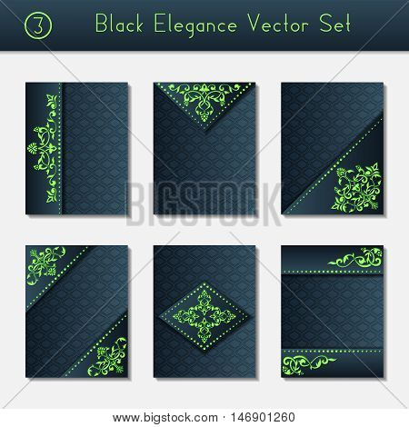 Set of 6 intricate and elegant black brochure designs with bright green details. US Letter size. Easily croppable to A4 size. Graphics are grouped and in several layers for easy editing. The file can be scaled to any size.