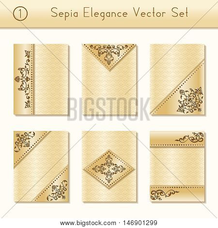 Set of 6 intricate and elegant sepia brochure designs with floral details. US Letter size. Easily croppable to A4 size. Graphics are grouped and in several layers for easy editing. The file can be scaled to any size.