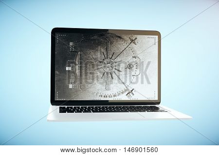 Abstract laptop computer with closed bank vault on screen. Blue background. Online banking concept. 3D Rendering