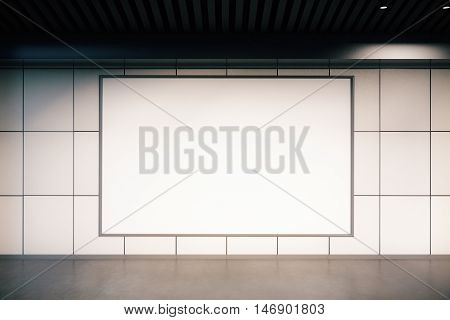 Front view of empty huge billboard in light tile interior. Mock up 3D Rendering