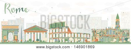 Abstract Rome Skyline with Color Landmarks. Vector Illustration. Business Travel and Tourism Concept with Historic Buildings. Image for Presentation, Banner, Placard and Web Site.