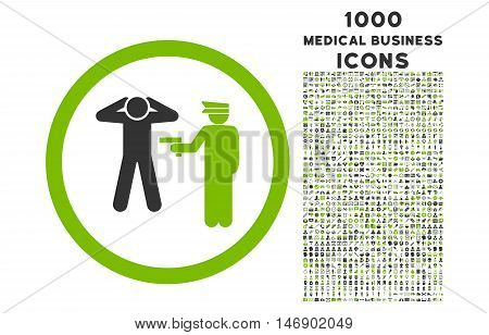 Arrest rounded glyph bicolor icon with 1000 medical business icons. Set style is flat pictograms, eco green and gray colors, white background.