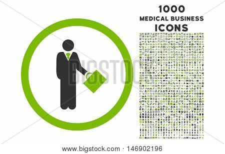 Businessman rounded glyph bicolor icon with 1000 medical business icons. Set style is flat pictograms, eco green and gray colors, white background.