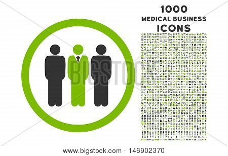Clerk Staff rounded glyph bicolor icon with 1000 medical business icons. Set style is flat pictograms, eco green and gray colors, white background.
