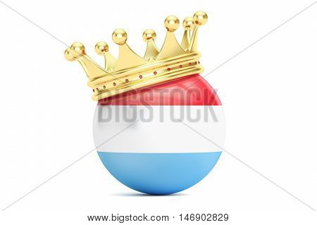Crown with flag of Grand Duchy of Luxembourg 3D rendering