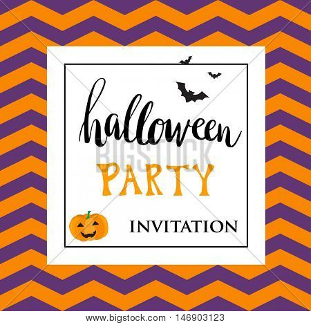 Cute halloween invitation or greeting card template with black bats and pumpkin. Hand written lettering phrase Halloween Party. Can be used for banner, poster and web design.