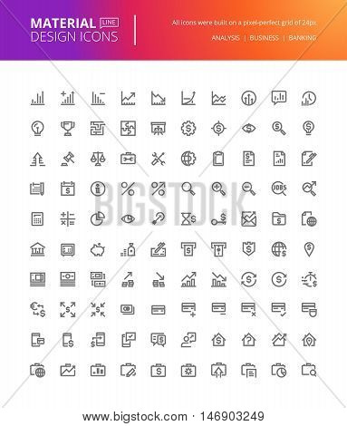 Material design icons set. Thin line pixel perfect icons for business analysis, finance and banking. Premium quality icons for website and app design.