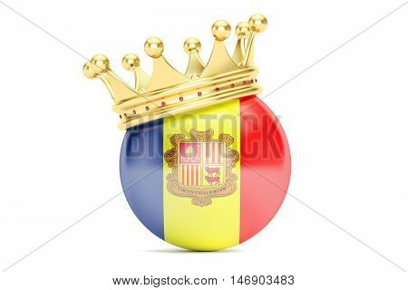 Crown with flag Principality of Andorra 3D rendering