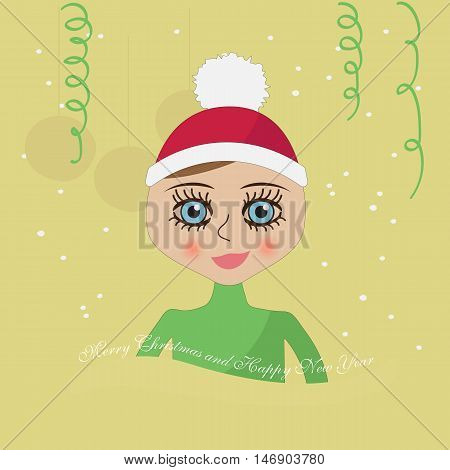 girl with blue eyes in a Christmas hat on New Year's background