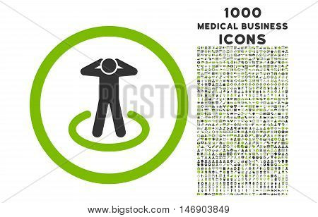 Prisoner rounded glyph bicolor icon with 1000 medical business icons. Set style is flat pictograms, eco green and gray colors, white background.