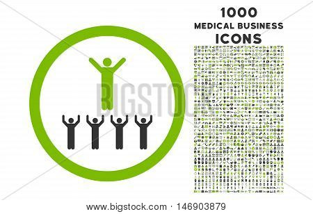 Religion Adepts rounded glyph bicolor icon with 1000 medical business icons. Set style is flat pictograms, eco green and gray colors, white background.