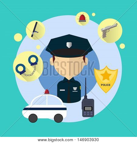 Police Officer Man Icon Flat Vector Illustration