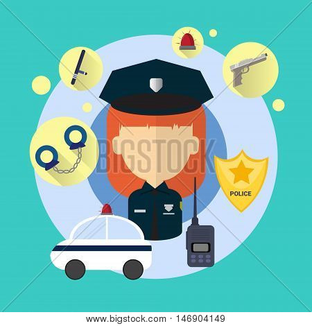 Police Officer Woman Icon Flat Vector Illustration