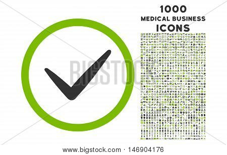 Valid rounded glyph bicolor icon with 1000 medical business icons. Set style is flat pictograms, eco green and gray colors, white background.