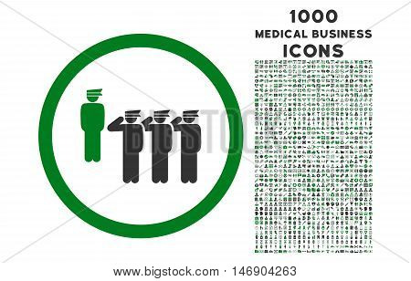 Army Squad rounded glyph bicolor icon with 1000 medical business icons. Set style is flat pictograms, green and gray colors, white background.