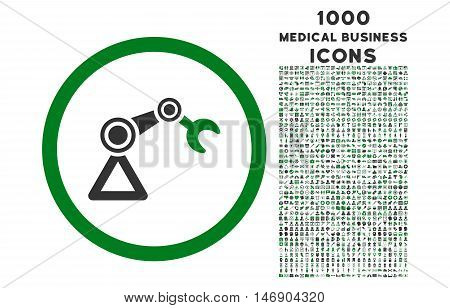 Artificial Manipulator rounded glyph bicolor icon with 1000 medical business icons. Set style is flat pictograms, green and gray colors, white background.