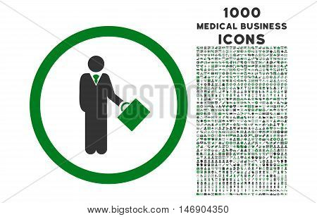 Businessman rounded glyph bicolor icon with 1000 medical business icons. Set style is flat pictograms, green and gray colors, white background.